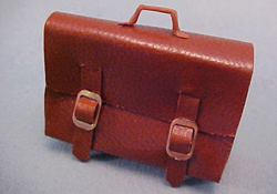 "1"" Scale Hand Crafted Brown Leather Brief Case"