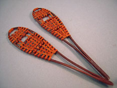 "1"" Scale Miniature Hand Crafted Leather Snow Shoes"