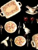 "1"" Scale Reutter Porcelain Classic Rose Dinner Set"