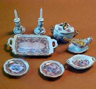 "1"" Scale Reutter Porcelain Classic Rose Server Set"