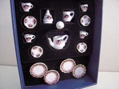 "1"" Scale Reutter Porcelain Black Rose Tea Set"