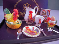 "1"" Scale Reutter Porcelain Rooster Breakfast Cereal Set"