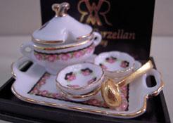 """1"""" Scale Reutter Porcelain Black Rose Soup Bowl Set"""