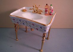 "1"" Scale Reutter Porcelain Gold Crosshatch Single Bathroom Sink"