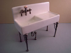 "1"" Scale Reutter Porcelain Olde Time White Porcelain Kitchen Sink"