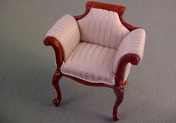 "1/2"" Scale Bespaq Walnut Emporium White Vanity Chair"