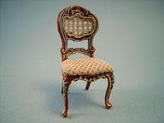 Bespaq 1/2� Scale Miniature Hand Painted Walnut and Beige Portia Side Chair