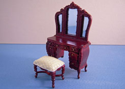"1/2"" Scale Bespaq Mahogany Mi Lady's Vanity and Yellow Bench"