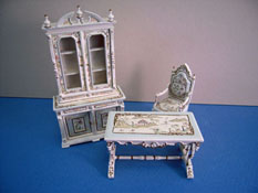 "Bespaq 1/2"" Scale Dauphine Hand Painted Chestney Three Piece Library Set"