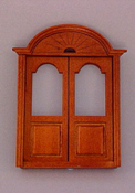 "Majestic Mansions 1"" Scale Miniature Walnut Newport Double Door"