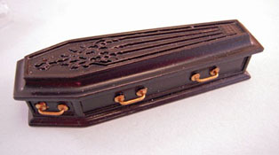 "1/2"" Scale Miniature JBM Black Wooden Coffin"