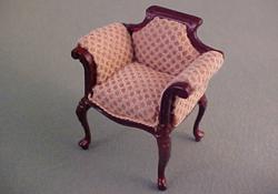 """1/2"""" Scale Bespaq Mahogany Emporium Beige Vanity Chair"""