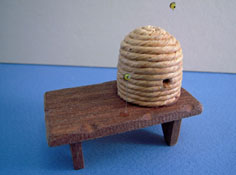 "1"" Scale Miniature Hand Crafted Beehive on a Bench"