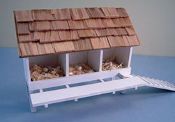 "1"" Scale Miniature Hand Crafted Finished White Wooden Chicken Coop"