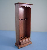 "1"" Scale Miniature Hand Crafted Walnut Rifle Cabinet"