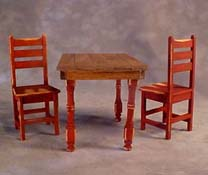"1"" Scale Taylor Jade Antique Red Hand Crafted Colonial Table Set"