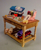"Taylor Jade 1/2"" Scale Hand Crafted Filled Sewing Table"