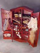 "1"" Scale Filled Victorian Sewing Hutch"