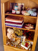 "1"" Scale Rustic Sewing Hutch"