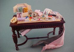 "Taylor Jade 1/2"" Scale Filled Victorian Sewing Table"
