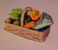 "1"" Scale Vegetables In A Woven Basket"