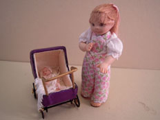 "Jan Smith 1"" Scale Toddler Clara Pushing Her Baby"