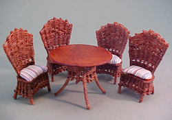"Warling Miniatures 1/2"" Scale Hand Crafted Brown Wicker Patio Table Set"