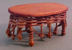 "Warling Miniatures 1/2"" Scale Hand Crafted Brown Wicker Coffee Table"