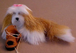 "1"" Scale Buff and White Puppy with a Toy by Alice Zinn"
