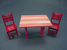 "Taylor Jade 1/2"" Scale Anitique Red Colonial Kitchen Set"