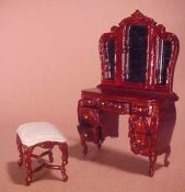 "1/2"" Scale Bespaq Mahogany Mi Lady's Vanity and Bench"